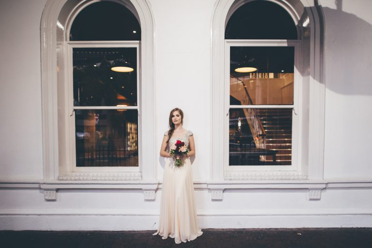 Weddings and bride front of building