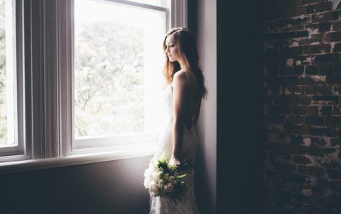 wedding bride at window