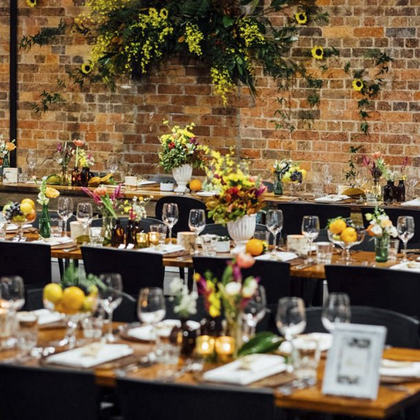 wedding and corporate events styling sit down